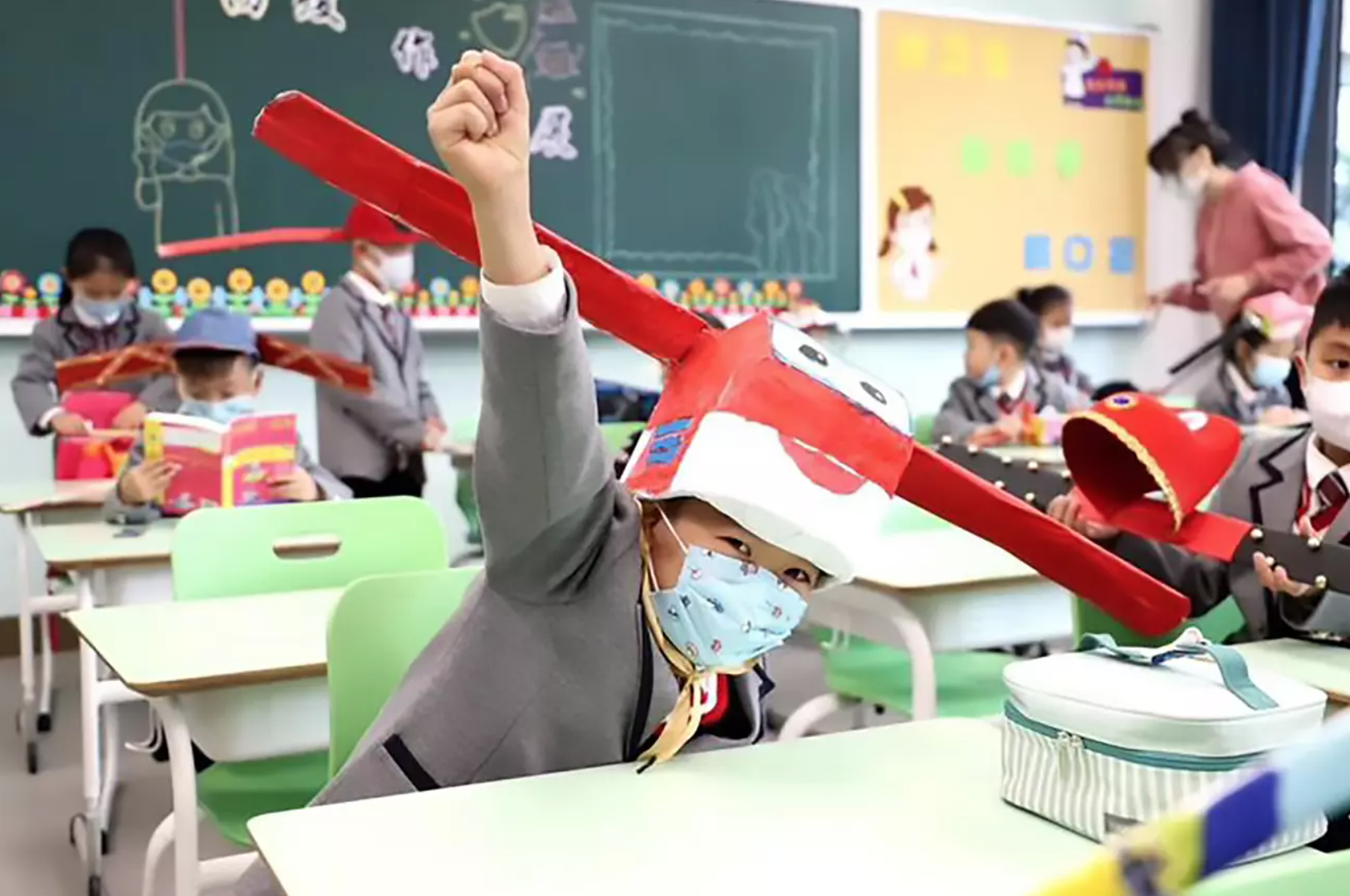Schools in China adopted a novel method to ensure social distancing among pupils